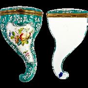 Antique 19th C. Samson Porcelain Cornucopia Box, Case, Apres Old Derby or Bilston