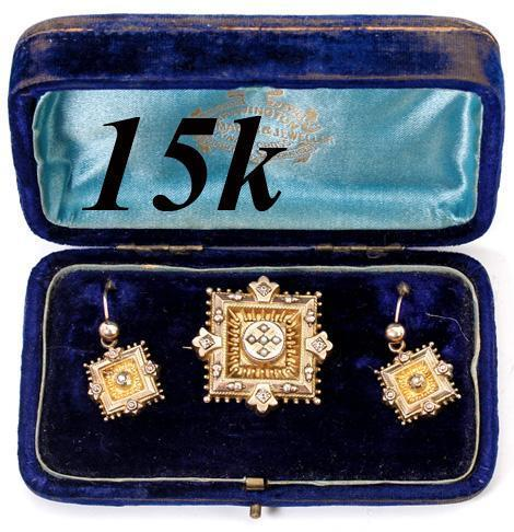 Antique English Georgian Era 15k Gold & Seed Pearl Brooch, Earrings Pair, Parure in Original Case, Etui