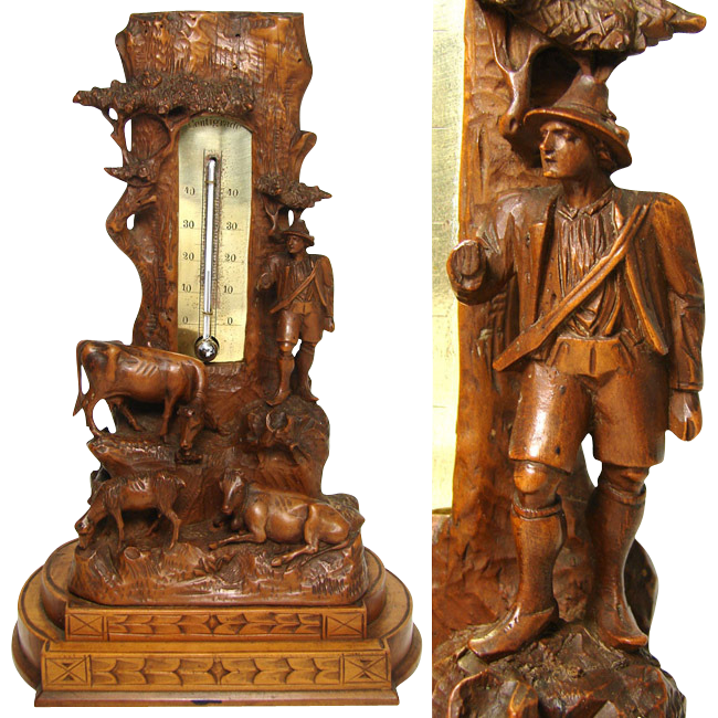 "Rare Antique Black Forest 10"" Thermometer Stand: Pastoral with Cows, Calf & Herder"