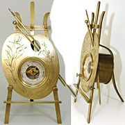 "Antique French 10.5"" Ormolu Desk or Mantle Barometer: Painter's Palette, Easel & Brushes"
