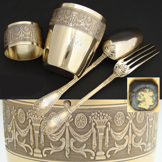 Lovely Antique French Vermeil Sterling Silver 4pc Child's Dinner Set w/ Tumbler & Napkin Ring