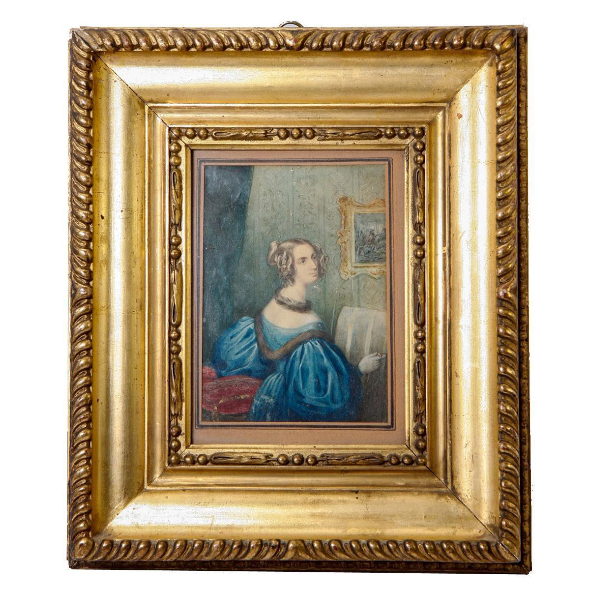 Antique Georgian Era Portrait Miniature in Frame, Woman at a Loom or Embroidery Frame