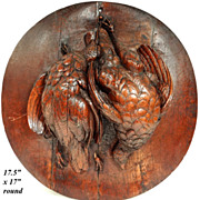 Fine Antique Pair of Game Hens, Black Forest Carved Fruits of the Hunt Plaque in Oak