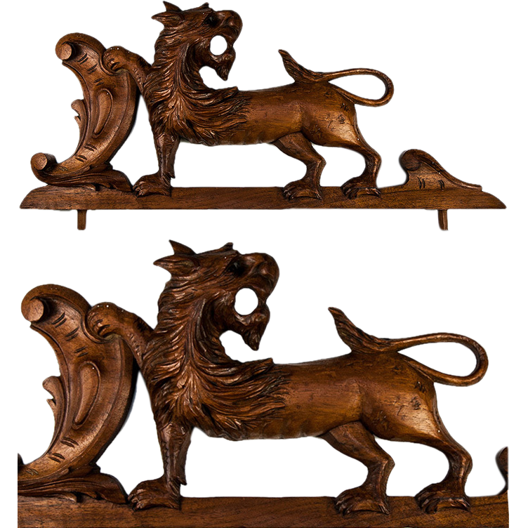 Antique Hand Carved Black Forest or French Carving - Door Top or Furniture Salvage with Lion