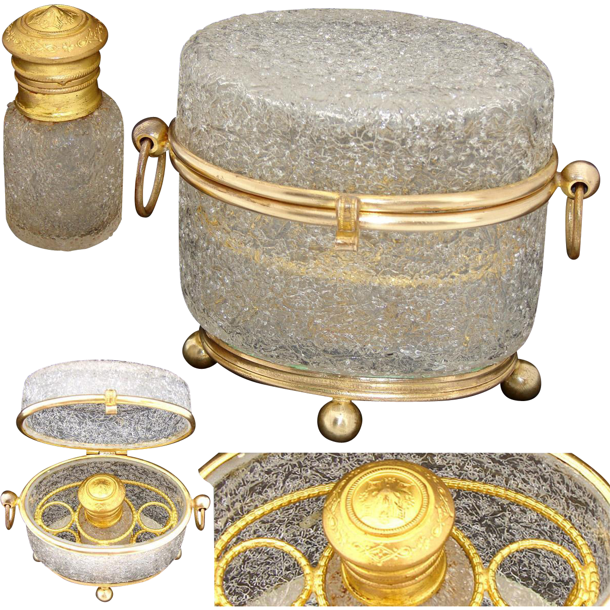 Antique French Scent Caddy, Casket in Crackle Glass, Fitted With Perfume Flask, Bottle