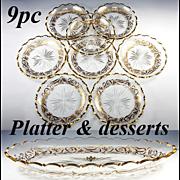 Antique Set of 8 Crystal Bowls, 1 Large Platter with Gold Enamel