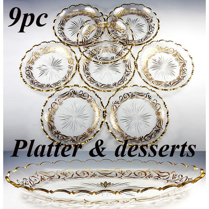 Antique Set of 8 Crystal Bowls, 1 Large Platter with Gold Enamel