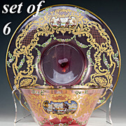 Antique Bohemain Cranberry Glass Moser Bowl & Saucer Set for 6: 12 Pieces, Hand Painted