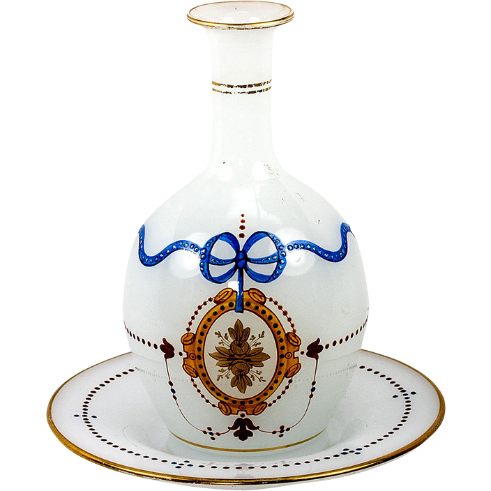 Antique  French  Enameled & Jeweled Opaline Glass Decanter with Original Matching UnderTray , c.1820-60