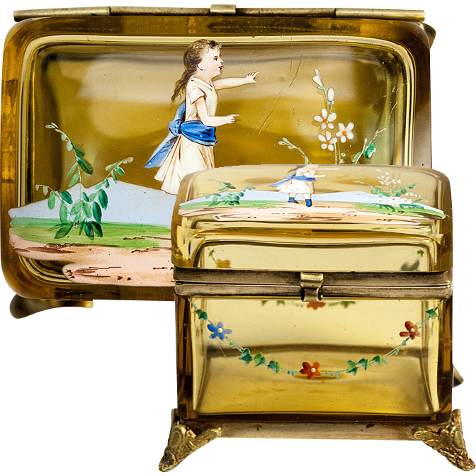 Antique French Enameled Glass Jewelry Box with Hand Painted Little Girl, Garlands of Flowers, c. mid-1800s