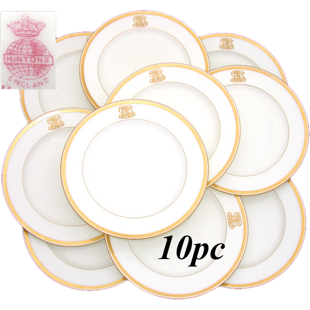 Antique 1911 MINTON 10pc Dinner Plate Set, Ornate Gold Borders & Raised Gold Monograms