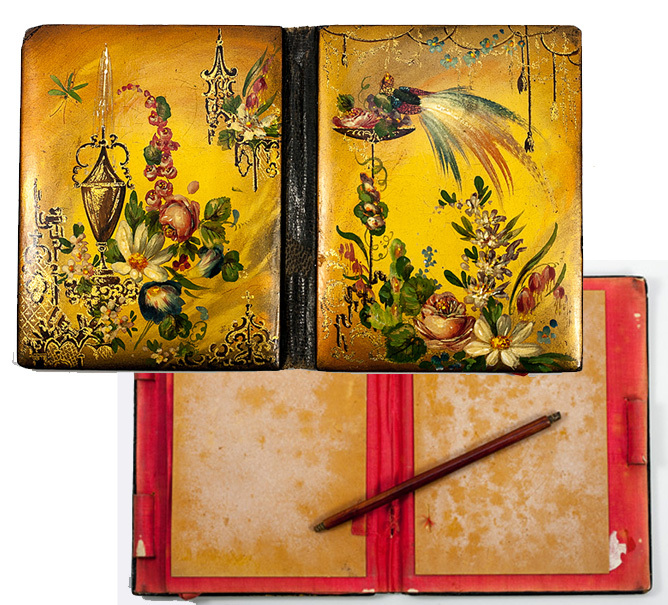 Antique Victorian Era Papier Mache Carnet du Bal, Necessaire or Card Case, Aide d'Memoire with Pencil - Jennens & Bettridge