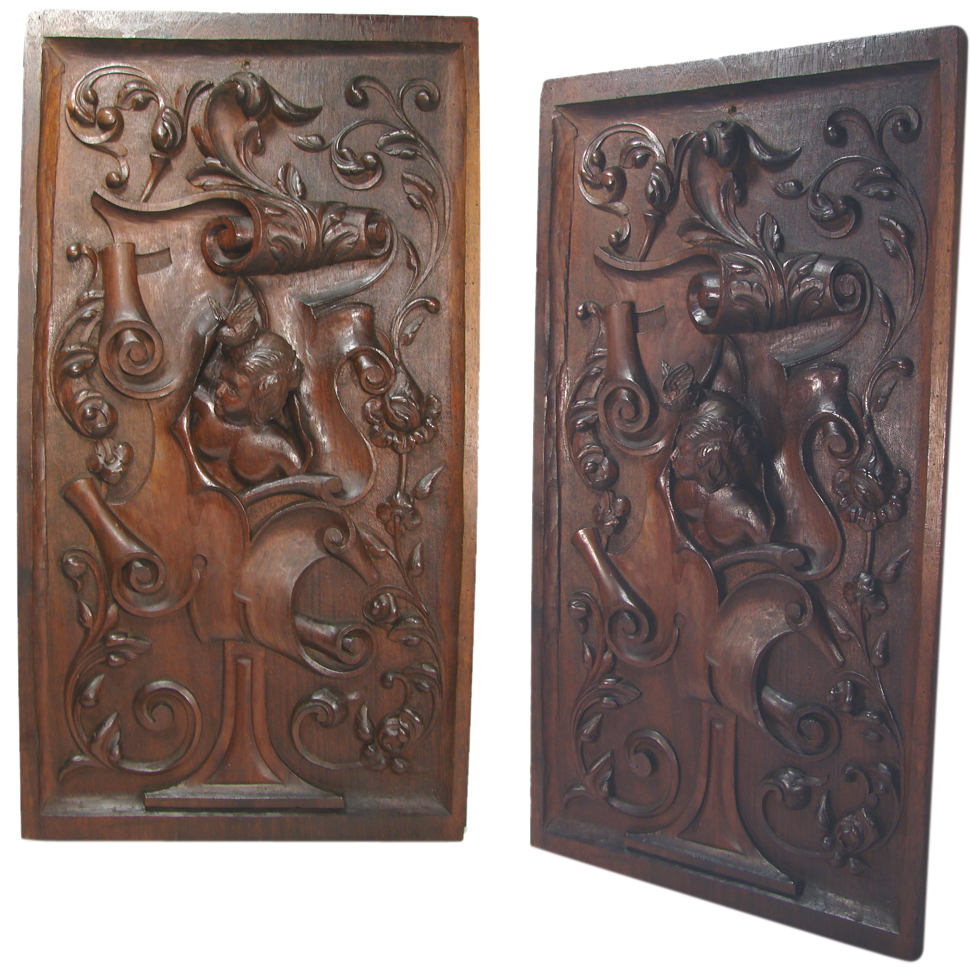 Antique hand carved large walnut wood panel figural with