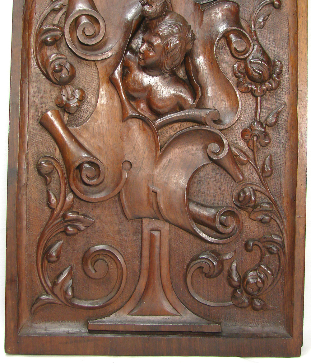 Roll over Large image to magnify, click Large image to zoom - Antique Hand Carved Large Walnut Wood Panel, Figural With Woman's