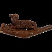 Antique Hand Carved Black Forest Cheroot Holder Pipe, Dog, Hound