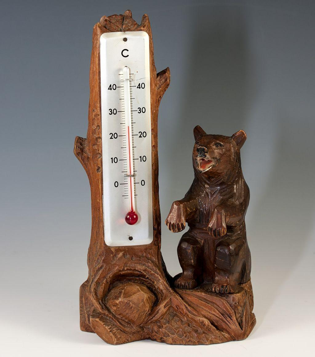 Vintage Hand Carved Black Forest Bear and Log Thermometer Stand, Weather Station