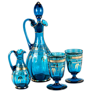 Antique French Wine or Absinthe Serving Set, c.1870, 4 Pieces w. Decanter