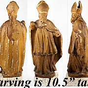 RARE Antique Carved Wood, Wax & Polychrome, Gilding - Pope or Cardinal
