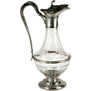 "Antique Victorian Era French Wine Decanter, ""Etain"" (Silver Plate on White Metal) & Glass"