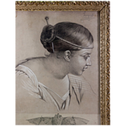Antique Frame & Artist Signed Pencil Drawing, Beauty & Bat, c. 1850 (Artist: Marie-Louise Limpens)