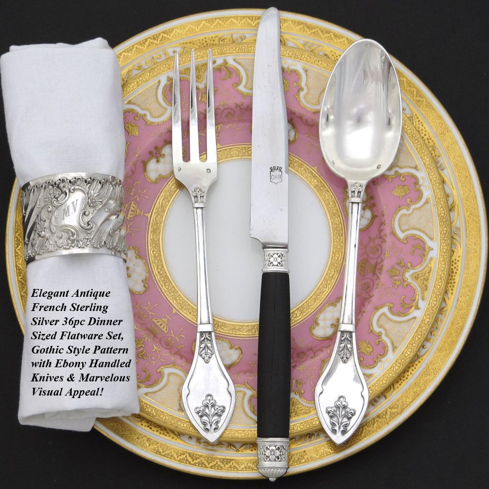 """Ornate Antique French Sterling Silver 36pc Dinner Sized Flatware Set, Gothic or """"Henri II"""" Style"""