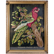 Antique Victorian Needlepoint Sampler, Tapestry, A Parrot, c.1872, Signed & in Frame