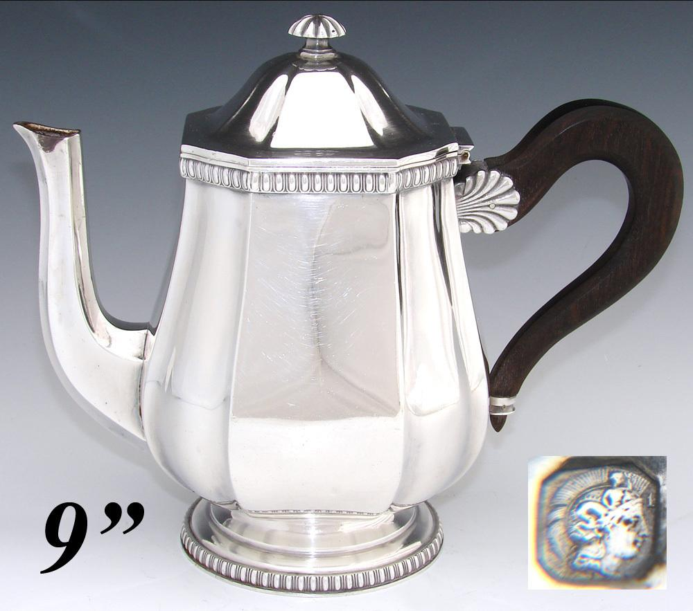 "Antique French Sterling Silver 9"" Coffee or Tea Pot, Teapot, Seashell Accent"