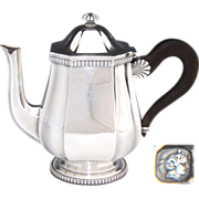 """Antique French Sterling Silver 9"""" Coffee or Tea Pot, Teapot, Seashell Accent"""