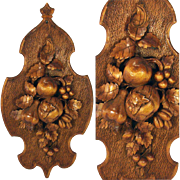 "Unique Antique Black Forest Carved 22.5"" Wall Plaque: Fruit, Nuts, Vines & Foliage"