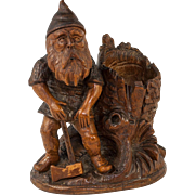 Antique 19th C. Black Forest Gnome, Hand Carved Forest Elf with Ax, A Match or Toothpick Holder, Stand