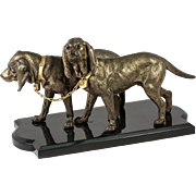 Antique Animalier Sculpture Dogs, Cast Bronze on Polished Onyx Base, French, c.1870-1910