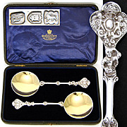 Antique English Sterling Silver 2pc Serving Spoon Set, Figural Handles, Gilt Bowls & Orig. Box