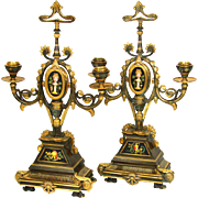 "Exceptional Antique French NeoClassical or Empire Style Bronze 15"" Candelabra PAIR, HP Porcelain Inserts"
