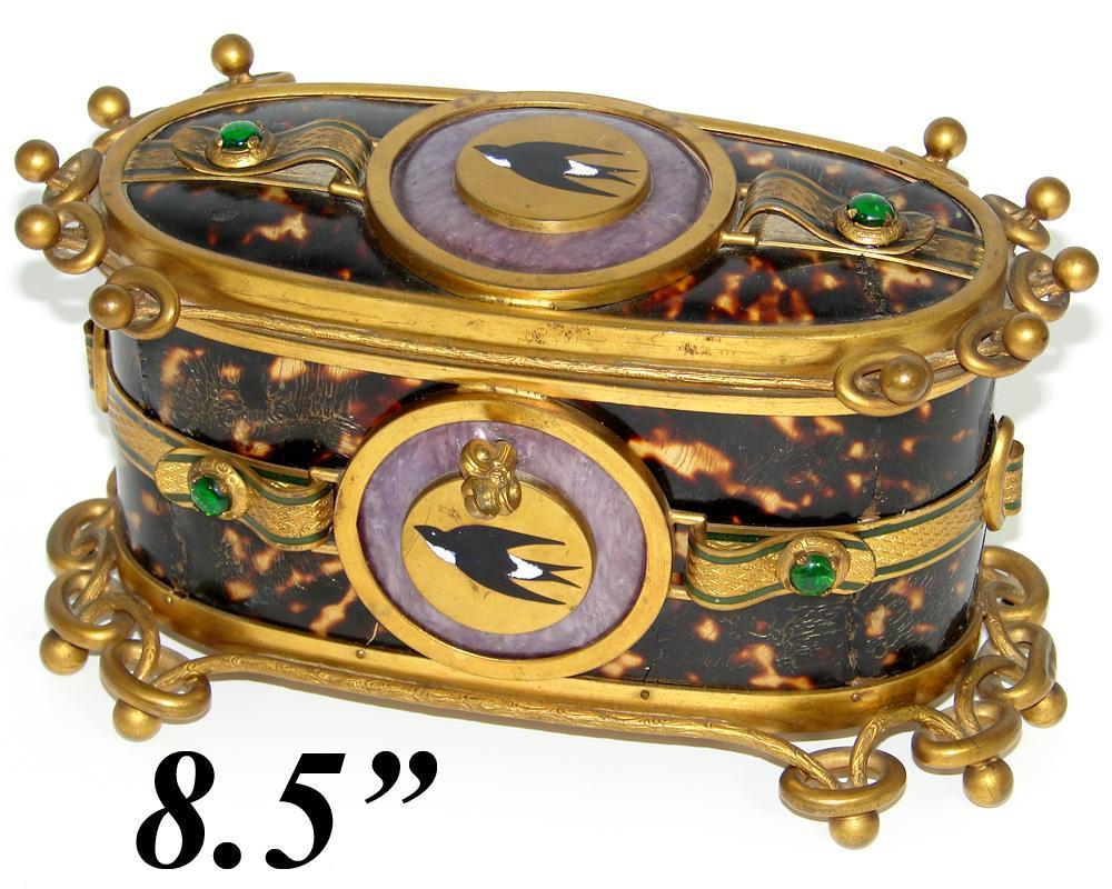"Superb LG Antique French 8.5"" Faux Tortoise Shell & Bronze Jewelry Casket, HP Birds"