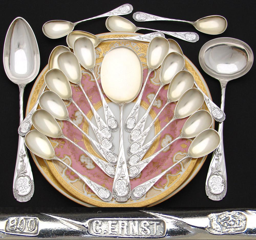 Fabulous Antique Continental .800 (nearly sterling) Silver 21pc Ice Cream or Dessert Service, Boxed