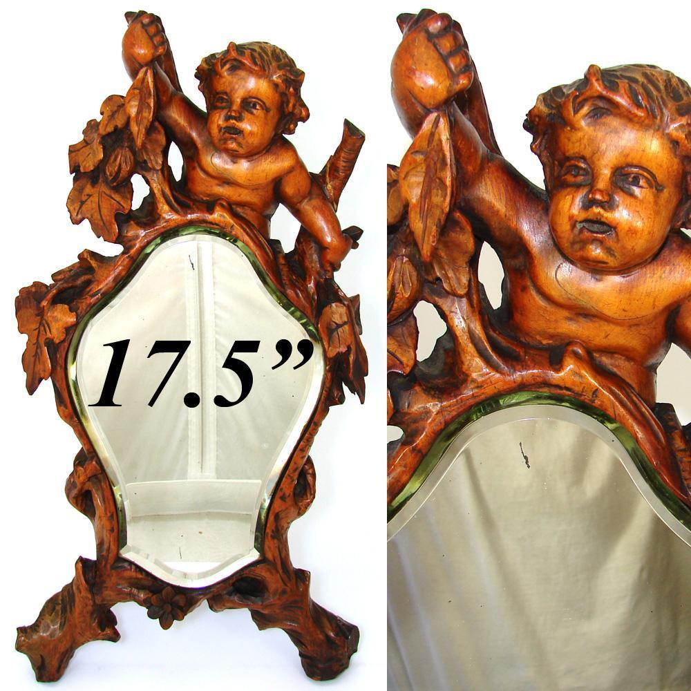 "Antique c. mid 1800s Italian Renaissance Style Carved 17.5"" Vanity Mirror, Cherub or Putti Figural"