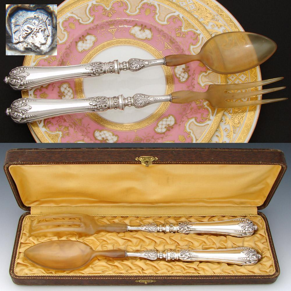 Gorgeous Antique French Sterling Silver 2pc Salad Serving Implement Pair, in Box