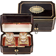 Antique French Napoleon III Era (Victorian) Scent Box, Casket with Baccarat Perfume Flasks, Working Key