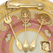 Antique French Hallmarked 18k Gold (Vermiel) Sterling Silver 4pc Hors d'Oeuvres Serving Set, Boxed