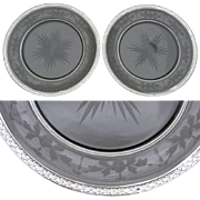 "Lovely PAIR of Antique French Sterling Silver & Intaglio Etched Glass 8 3/8"" Plate Set, Champagne or Wine Coasters"