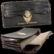 """Antique French Bank, Business Folio, Portfolio, Leather """"Banque de Paris"""", 1909"""
