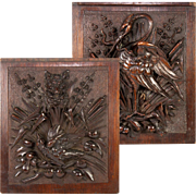 Exceptional Antique Black Forest Carved Plaque Pair, Fox & Birds, Crane & Snake, c.1840
