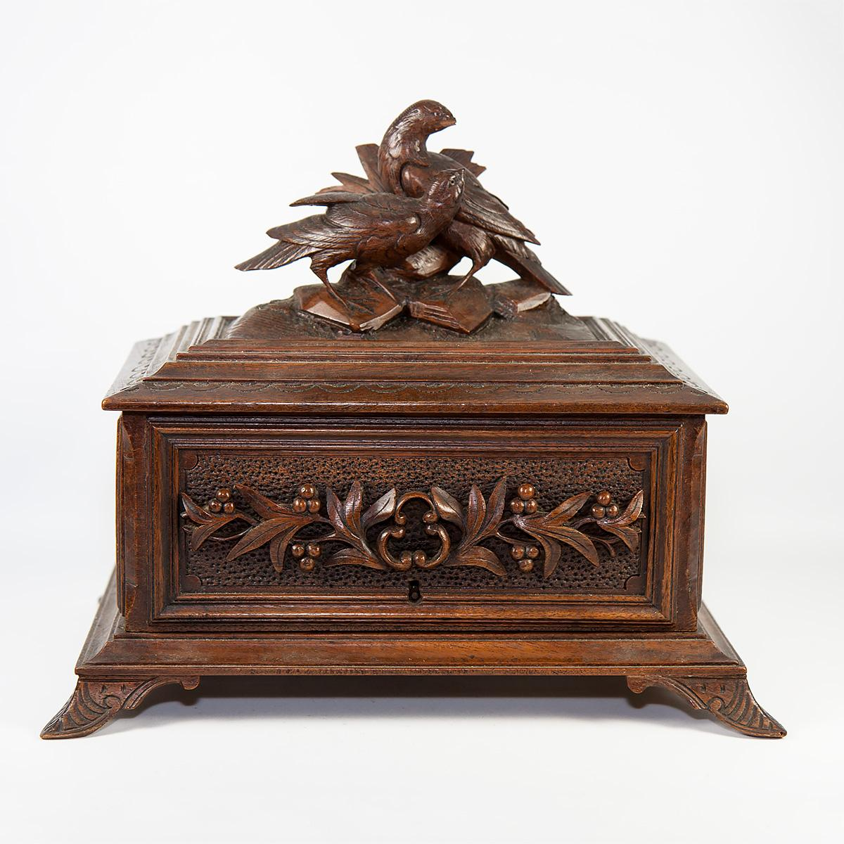 fine antique black forest carved wood cigar box chest game hens from antiques uncommon. Black Bedroom Furniture Sets. Home Design Ideas