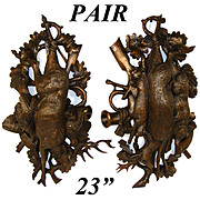 "RARE PAIR Antique Black Forest Carved 23"" Wall Plaque PAIR, ""Fruits of the Hunt"" Theme: Stag, Deer, Fox, HARE !!"