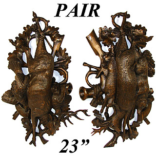 """RARE PAIR Antique Black Forest Carved 23"""" Wall Plaque PAIR, """"Fruits of the Hunt"""" Theme: Stag, Deer, Fox, HARE !!"""
