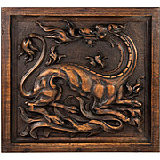 Antique Carved Black Forest Gothic Plaque, Renaissance Chimera