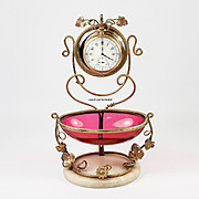 Antique French Cranberry Glass & Ormolu Pocket Watch and Vanity Tray Stand, Half Egg