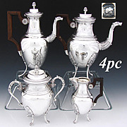 Antique French Sterling Silver 4pc Tete-a-Tete Coffee & Tea Set, 2 Pots, Creamer & Sugar, Figural Spouts