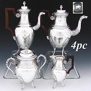 Antique French Sterling Silver 4pc Tete-a-Tete Coffee & Tea Set, 2 Pots, Creamer & Sugar, Figural Spouts