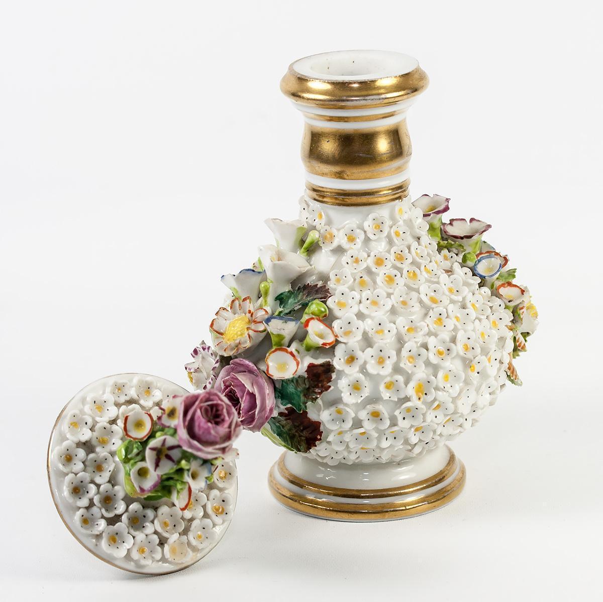 Antique French Old Paris Porcelain Flowers Cologne, Scent Bottle, Decanter, Jacob Petit